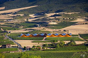 Futuristic architecture in traditional landscape Ysios Bodega winery at Laguardia in Rioja-Alaveda wine-producing area, Spain