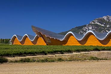 Ysios Bodega winery futuristic architecture at Laguardia in Rioja-Alaveda wine-producing area of Basque country, Spain