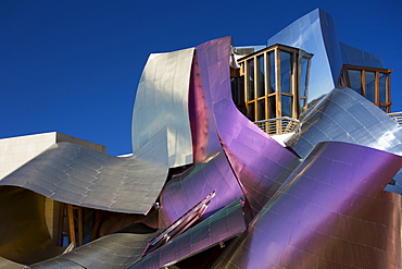 Hotel Marques de Riscal Bodega, futuristic design by architect Frank O Gehry, at Elciego in Rioja-Alavesa area of Spain