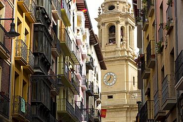 Cathedral Santa Mar'a la Real (Royal Saint Mary) street scene in Calle de Curia, Pamplona, Navarre, Spain