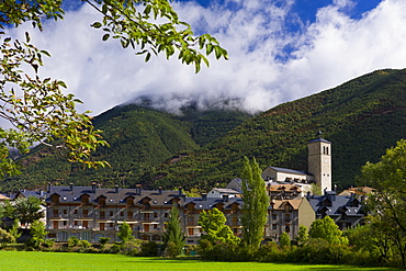 New development in town of Biescas in Valle de Tena, Aragon, Northern Spain. Many Spanish construction projects had EU funding
