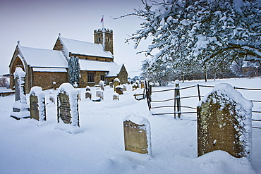 12th Century Church of St Mary in The Cotswolds, Swinbrook, Oxfordshire, United Kingdom