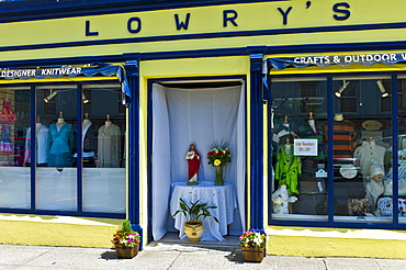 Shrine to the Sacred Heart of Jesus outside Lowry's for Catholic street parade, Clifden, County Galway, Ireland