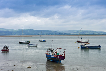 Sailing boats and fishing trawlers moored in Dyfi estuary at Aberdyfi, Aberdovey, Snowdonia, Wales