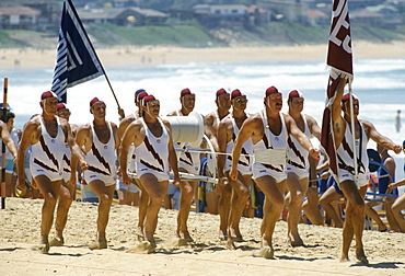 Lifeguards at Central Coast Surf Carnival for bicentennial Terrigal Beach, Sydney