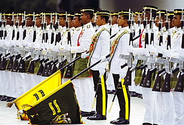 Ceremonial guard at military display at the Sultan's Palace in Brunei Darussalam