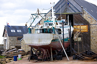 Boatyard at Channel port of St Vaast La Hougue in Normandy, France