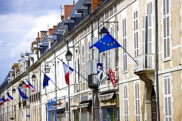 European Community and French flags in town of Richelieu in Loire Valley, Indre et Loire, France