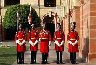 The Presidential Guard at the President's Palace at Rashtrapati Bhavan, India