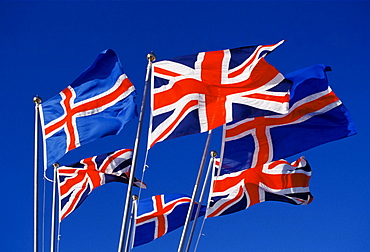 British Union Jack flags with Icelandic flags in Iceland