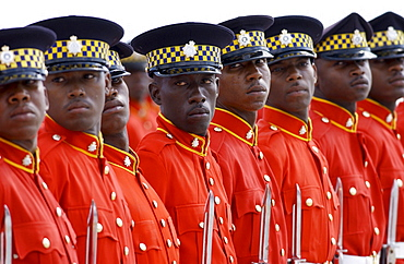 Military Guard Of Honour of Jamaica Defence Force with bayonets outside Parliament in Kingston, Jamaica