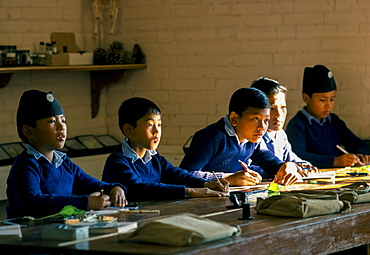 Schoolboys attending lessons at a school in Kathmandu, Nepal