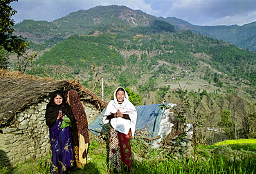 Women at their home in the foothills of the Himalayas at Pokhara in Nepal