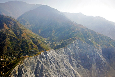 Karokoram mountains and Skardu Valley in Northern Pakistan. Showing recent earthquake slip in foreground.