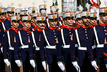 Military parade at the Pardo Palace, the King's Palace, in Madrid