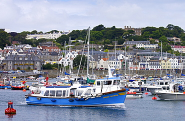 Boats in harbour at St Peter's Port, Guernsey, Channel Islands