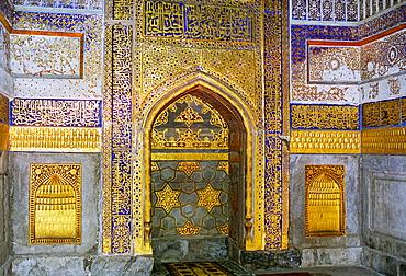 Inside Tilla Kari, Tilya-Kori, Madrasah in Registan Square, Samarkand, Uzbekistan. During restoration.