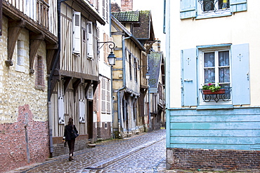 Traditional medieval timber-frame architecture and narrow cobbled street at Troyes in the Champagne-Ardenne region, France, Europe
