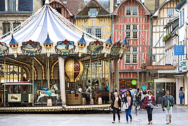 Traditional medieval timber-frame architecture in central square at Troyes in the Champagne-Ardenne region, France, Europe