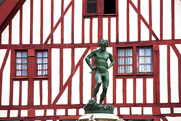 Statue of Bareuzai in the old town in Dijon in the Burgundy region, France, Europe