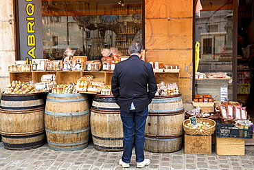 Dijon mustard and speciality food for sale in La Fabrique Bouchons shop in old town in Dijon, Burgundy region, France, Europe