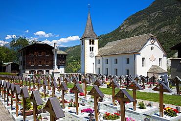 Stalden Church, St. Michaelspfarrei, and graveyard, Stalden,  Chablais region, Vaud, Switzerland, Europe