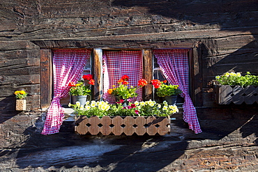 Traditional window of chalet in village of Zmutt in the Swiss Alps near Zermatt, Valais, Switzerland, Europe