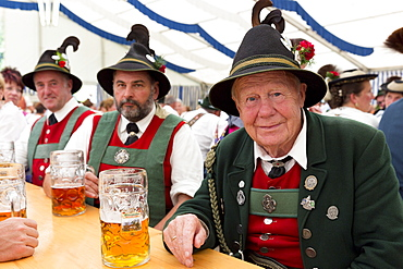 Villagers at beer festival in the village of Klais in Bavaria, Germany, Europe