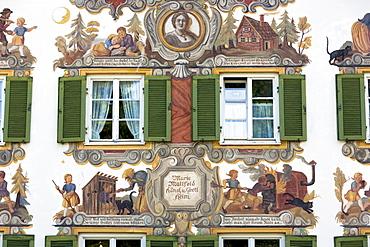 Painted facade of Grimms Fairy Tale story of Hansel and Gretel in the village of Oberammergau in Bavaria, Germany, Europe