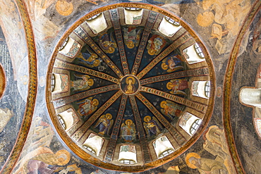 Iconic religious art of fresco and mosaics on the dome ceiling of the Byzantine church at Chora in Istanbul, Turkey, Europe