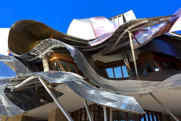 Hotel Marques de Riscal, futuristic curved design by architect Frank O Gehry, at Elciego in Rioja-Alavesa area of the Basque Country, Euskadi, Spain, Europe