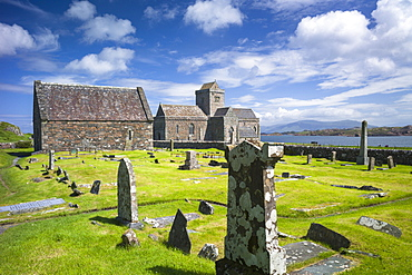 Iona Abbey and graveyard, the burial place of kings and clan chiefs, Isle of Iona in the Inner Hebrides and Western Isles, Scotland, United Kingdom, Europe