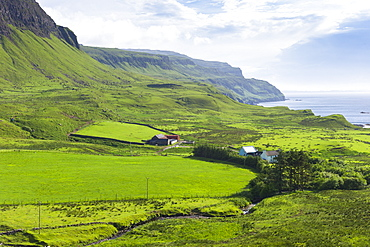 Traditional Scottish farm and farmhouse by sea loch on Isle of Mull in the Inner Hebrides and Western Isles, Scotland, United Kingdom, Europe