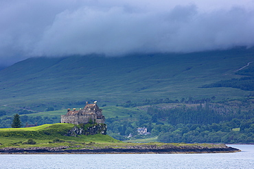 Sound of Mull and Duart Castle, home of Maclean clan, on the Isle of Mull in the Inner Hebrides, Western Isles, Scotland, United Kingdom, Europe