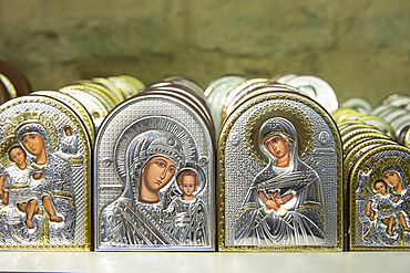 Religious icons as souvenirs in the gift shop of the Church of St. Saviour in Chora, the Kariye Museum, Istanbul, Turkey, Europe