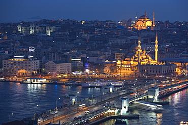 City scene including Yeni Camii (Great Mosque) by Golden Horn of Bosphorus River, Topkapi Palace, Hagia Sophia, Istanbul, Turkey, Europe