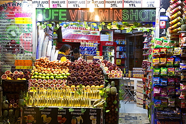 Grocers shop small supermarket selling fresh produce of local fruit and vegetables in Istanbul, Turkey, Europe
