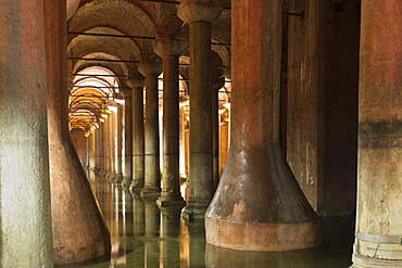 Water reflecting columns at Basilica Cistern (Sunken Palace) subterranean water system underground, Istanbul, Turkey, Europe