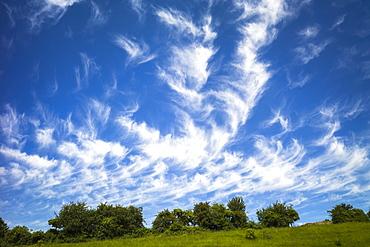 Cirrus clouds in blue sky, United Kingdom, Europe