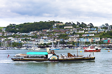 Ferry boat in the harbour of River Dart at coastal resort of Dartmouth in South Devon, England, United Kingdom, Europe