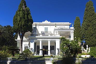 Facade of Achilleion Palace, Museo Achilleio, in Corfu, Greek Islands, Greece, Europe