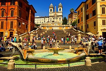 Piazza di Spagna, Trinita dei Monti Church, Rome, Lazio, Italy, Europe