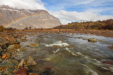 River and rainbow, Patagonia, Argentina, South America
