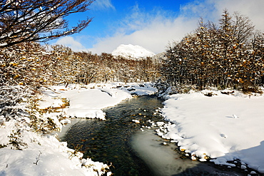 River, snow, Patagonia, Argentina, South America
