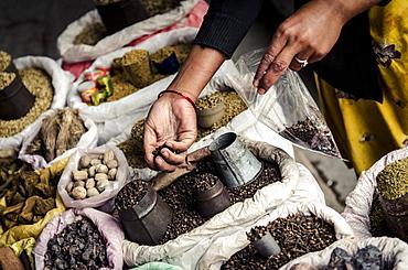 Spice market, Old Pokhara, Nepal. Asia