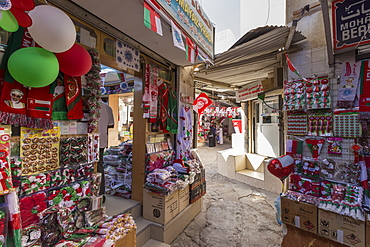 Flags and other Oman National Day decorations for sale at Mutrah Souq, Muscat, Oman, Middle East