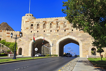 Muscat Gate Museum, straddles the road between Mutrah Corniche and old walled city, Muscat, Oman, Middle East