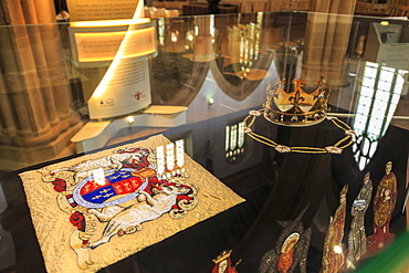 Embroidered Pall and Crown, used in Reinterment of King Richard III Ceremony, Leicester Cathedral, Leicestershire, England, United Kingdom, Europe