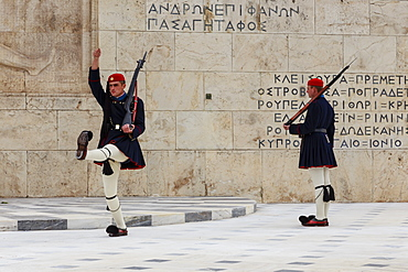 Evzone soldiers, Changing the Guard, Tomb of the Unknown Soldier, Parliament Building, Syntagma Square, Athens, Greece, Europe