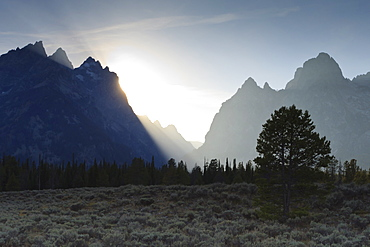 View down Cascade Canyon with backlit Teton Range, Grand Teton National Park, Wyoming, United States of America, North America